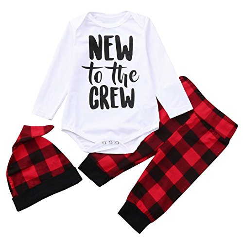 3PCS Newborn Baby Boys Girls Cute Letter Print Romper+Plaid Pants+Hat Outfits Set (0-6Months(Tag 70))