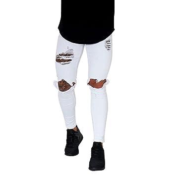 LuckyGirls Pantalones Hombres Vaqueros Originales Rotos Casuales Motocicleta Pantalones Slim Agujero Elasticos Streetwear Moda Pantalón