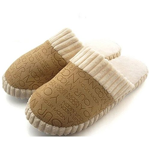 Feilongzaitianba Shoes Slipper Autumn Winter Warm Men Women Cotton-Padded Lovers At Home Slippers Indoor Floor Shoes Coffee - Map Arundel Mills