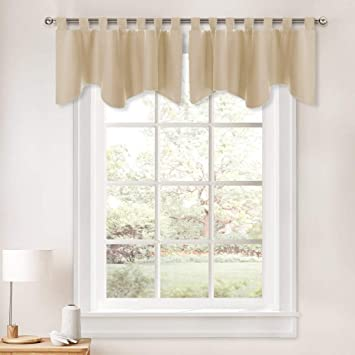 PONY DANCE Curtains Window Valance - Kitchen Drape Thermal Insulated Tab  Top Blackout Tier Home Decoration Swags and Valances for Bedroom, 52 by 18  ...