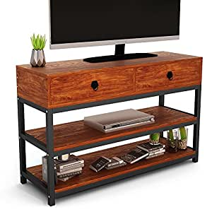 Rustic TV Stand, Tribesigns Console Table with Two-Drawer, Solid Particle Board Finish with Metal Legs, for Living Room or Home Office, Antique Brown
