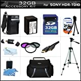 32GB Accessory Kit For Sony HDR-TD10 Handycam 3D Camcorder Includes 32GB High Speed SD Memory Card + Replacement (2300Mah) NP-FV70 Battery + Ac / DC Charger + Deluxe Case + Tripod + 3PC Filter Kit (UV-CPL-FLD) + Mini HDMI Cable + USB 2.0 SD Reader + More