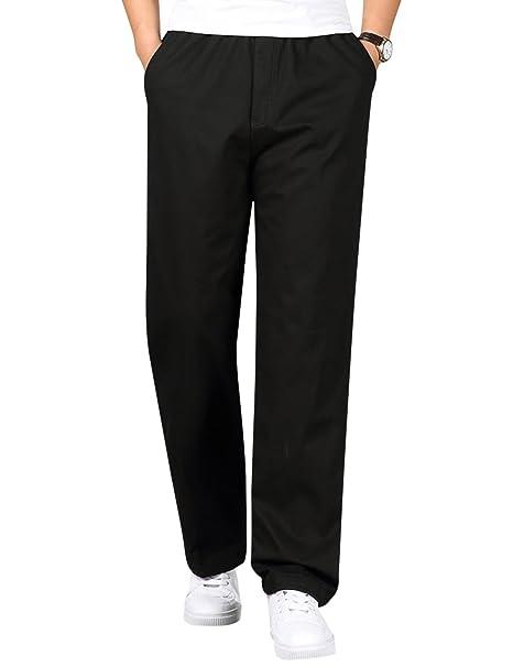 Amazon.com: tanming pantalones de cintura elástica Casual ...