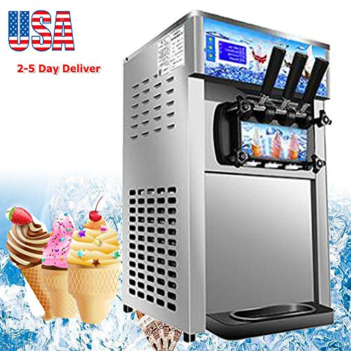 zinnor Ice Cream Machine, Commercial Soft Ice Cream Making Machine 1200W 3 Flavors 110V 18L/H Ice Cream Maker Frozen Drink Maker USA Shipping