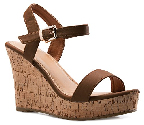 OLIVIA K Women's Open Toe Strappy Mid High Wedge Heel Wood Decoration Buckle Shoes Sandals ()