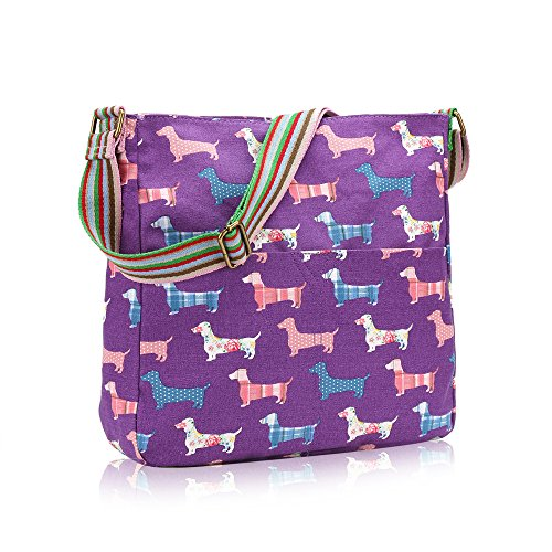 Messenger Handbag Purple Ladies Canvas Dachshund Sausage Bag Fashion Dog qCrwXCW8n