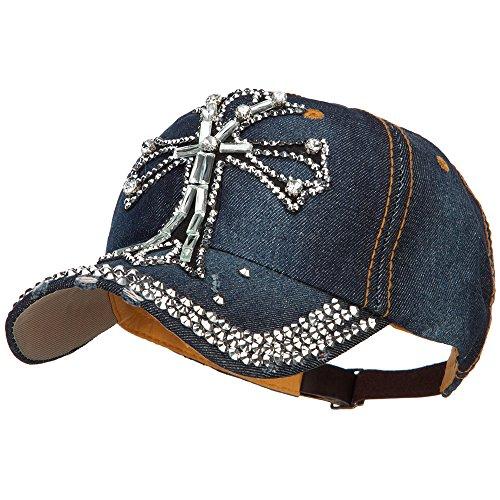 SS/Hat Cross Stone Denim Baseball Cap - Dk Denim OSFM