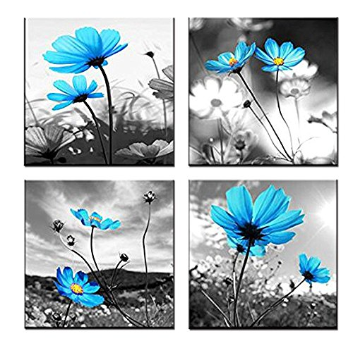 (GOUPSKY Blue Flower Painting Blossom Still Life Abstract Canvas Wall Art with Black and White Sky Sunlight Framed Pictures)