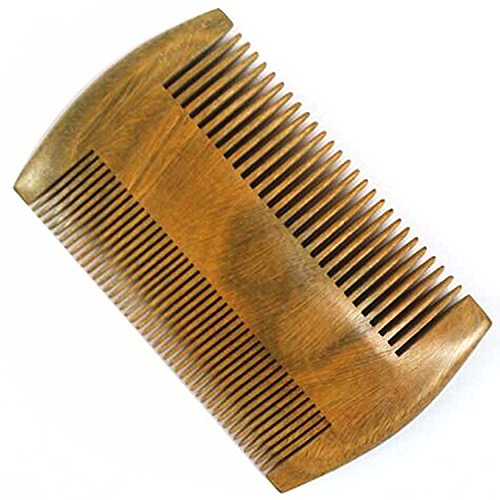 2 Sides Dual-Use Green Sandalwood Wooden Pocket Hair Comb Men Beard Comb Anti-Static Wide and Fine Tooth Elisona