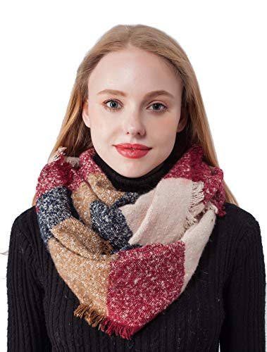 Seven Flowers Tartan Infinity Scarfs for Women Winter Cashmere feel Lightweight Warm Girls Plaid Knit Infinity Scarves(8-Red) by Seven Flowers