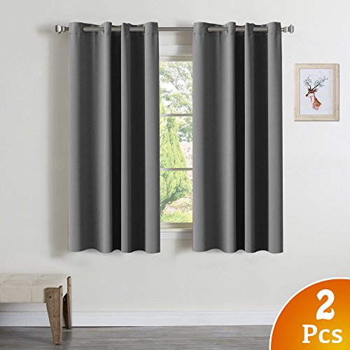 2 Panels Solid Blackout Drapes Dove Gray Themal Insulated Grommet/Eyelet Top Curtains Draperies for Living Room/Bedroom, 52″ W x 63″ L