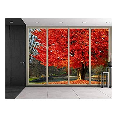 Made With Love, Charming Expert Craftsmanship, Red Tree by a Lake at The Park During Fall Time Viewed from Sliding Door Creative Wall Mural Peel and Stick Wallpaper