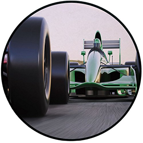 Printing Round Rug,Cars,Motorized Sports Theme Indy Cars on Asphalt Road with Motion Blur Formula Race Mat Non-Slip Soft Entrance Mat Door Floor Rug Area Rug For Chair Living Room,Grey Black Green