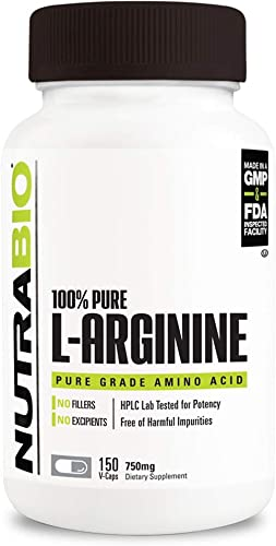 NutraBio Pure Fermented L-Arginine Supplement 150 Capsules, 750mg Each