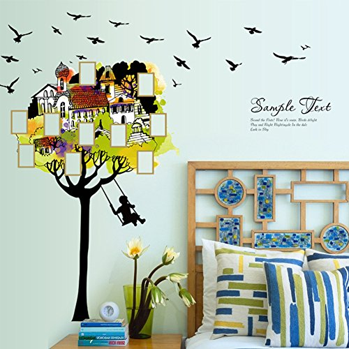 Zehui Wall Stickers Cute Creative Wall Door Window Stickers Room Decoration Party Scene Removable Decals 60 x 90cm Tree House Photo Frame (Swing Frame Accent)