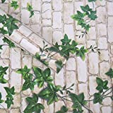 WOW Interiors White Brick and Green Leaf Peel and Stick Self Adhesive Wallpaper Easily Removable - Bedroom Living Room Corridor Background Eco Wallpaper (200 X 45 cm)