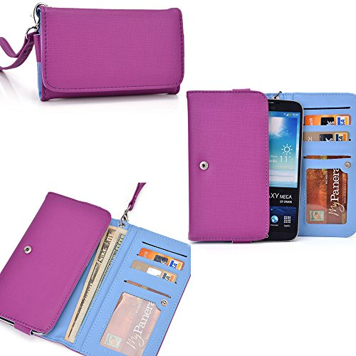 Purple Ladies PU leather all in one wallet- Phone holder/ internal card slots- universal design for Oppo Find 7 FHD (FullHD)