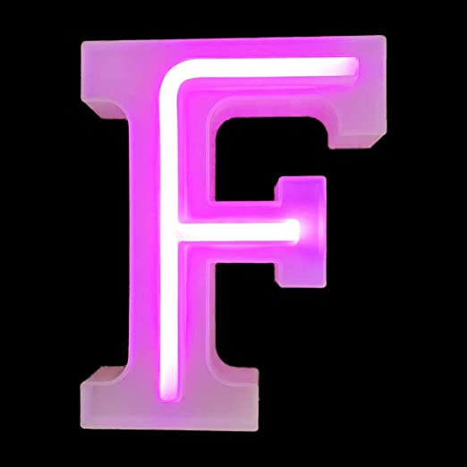 Pink LED Letters Neon Light Sign, Light Up Marquee Letters Lights Battery Powered (F)