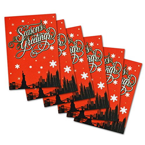 Skyline Christmas Card (New York Themed Souvenir Gift Season's Greetings Christmas Holiday Cards Red NY Skyline Snow Illustraion - Set of 6 Cards)