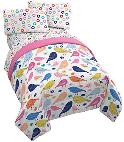 Jay Franco Vintage Bird 4 Piece Twin Bed Set - Includes Reversible Comforter & Sheet Set - Super Soft Fade Resistant Microfiber