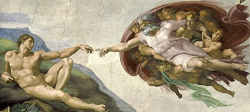 The Creation of Adam painting by Michelangelo on ceiling of the Sistine Chapel Poster Print by John ParrotStocktrek Images (21 x 9)
