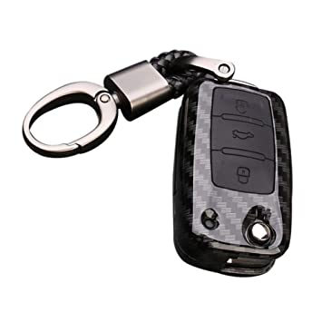 Happyit ABS Concha de Fibra de Carbono + Silicona Coche Llave Cubrir Caso Llavero para Volkswagen VW Bora Beetle Tiguan Polo Passat Jetta EOS Seat ...