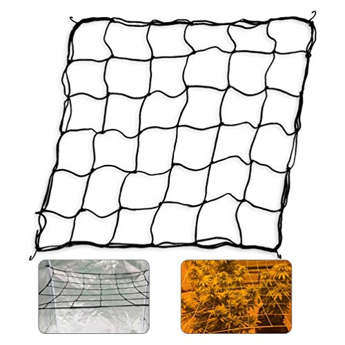 Flexible Net Trellis for Grow Tents, Fits 4x4 and More Size, Includes 4 Steel Hooks, 36 Growing Spaces by GROWNEER