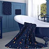 alisoso Astrology Premium Cotton Extra Large Bath Towel Set Solar System Planet Astronomy Cosmos Galaxy Mysterious Universe Bathroom hand towels set Dark Blue Orange Turquoise
