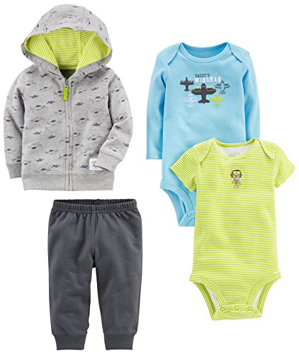 Simple Joys por Carter 's Boys' 4 piezas Little chamarra Juego, Gray Airplane, 0-3 Months