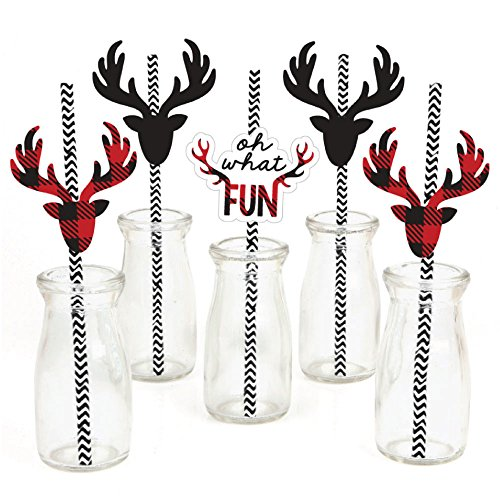 Prancing Plaid Paper Straw Decor product image