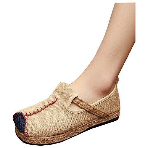 Partiss Femmes Exotique Linge Plat Bout Rond Espadrilles Chaussures Beige