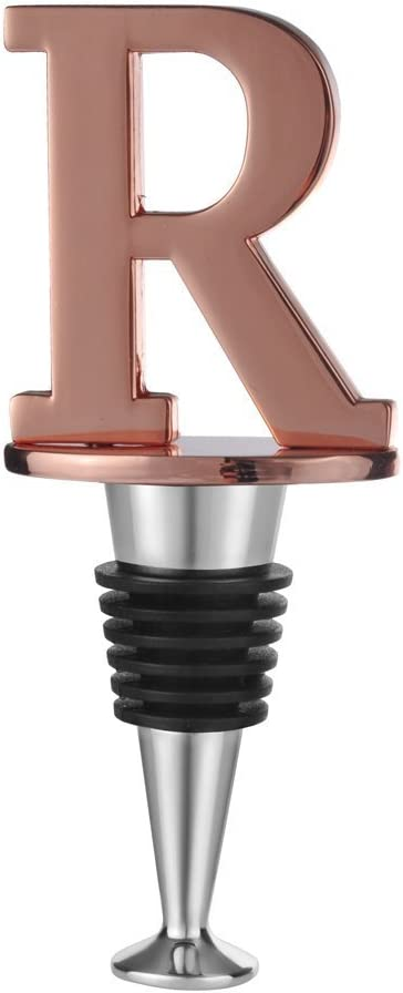 Wine and Beverage Bottle Stopper With Rose Gold Finish,R-Initial (Letter R)