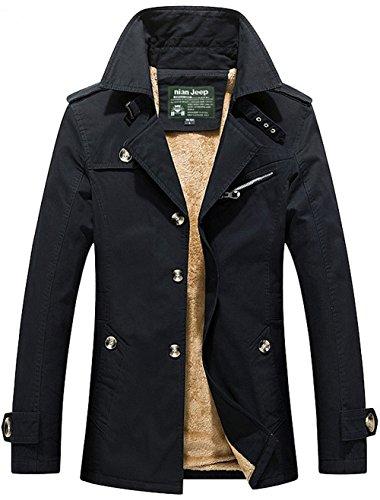 Trench Warm Black Parka Military Blazer Winter Outdoor Coat Velvet JIINN Windbreaker Uk5793z Jacket Thick Mens Cotton Plus qYCwRvC