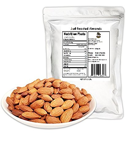Dry Roasted Almonds - Just Roasted Almonds 3 LB. Unsalted, Gluten-Free Certified, Non-GMO, No Artificial Additives, 100% Natural.