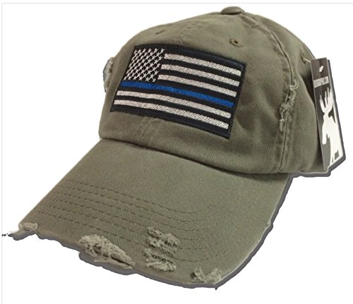 BlvdNorth Thin Blue Line LEO American Flag Hat / cap Olive Green