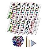 COZYOURS Self-Adhesive Rhinestone Stickers, 10 Sheets, 1080 Pcs ∣Acrylic Flatback Gems, 600 Pcs ∣Rhinestone Tray ∣Tweezers ∣ Pick up Pencil ∣ Orange Wood Sticks | + 546 Adult Coloring Patterns!