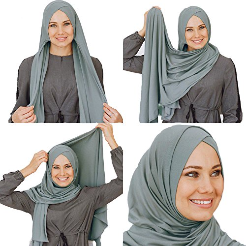Cotton head scarf, instant hijab, ready to wear muslim accessories for women (Viridian)