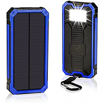 Solar Chargers 30,000mAh, Solarprous Dual USB Solar Battery Charger External Battery Pack Phone Charger Power Bank with Flashlight for Smartphones ...