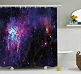 Ambesonne Galaxy Shower Curtain Set by, Starry Night Nebula Cloud in Galaxy Celestial Theme Image Space Decorations Print, Fabric Bathroom Decor with Hooks, 84 Inches Extra Long, Black Purple Blue