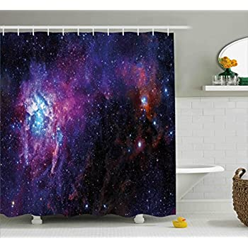 Superb Galaxy Shower Curtain Set By Ambesonne, Starry Night Nebula Cloud In Galaxy  Celestial Theme Image