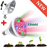 Indoor Garden Kit - LED Grow Light 12W with 4 Bands For Extra Boost Growing + Clamp Reflector + PH & Moisture Meter + Plant Label + Plant Clips