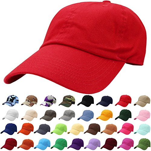 - Falari Baseball Cap Hat 100% Cotton Adjustable Size Red 1803