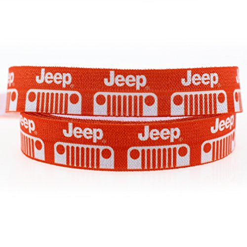 Midi Ribbon Jeep Orange Color Single Face Printed Stretch Foldover Elastic 5/8