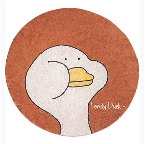 Cartoon Animal Round Area Rug White Duck & White Goose Collection Soft Anti-Slip Lovely Animal Carpet For Kids Children Boy Girls Room Decorator Baby Bedroom Floor Mat,Orange,Diameter1.5m/5'