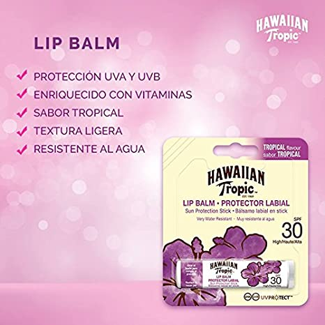 Amazon.com : Hawaiian Tropic Protector Labial Bálsamo Labial En Stick Spf30 Water Resistant : Beauty