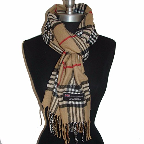 100-cashmere-scarf-camel-white-black-check-plaid-scotland-warm-wool-wrap-a7