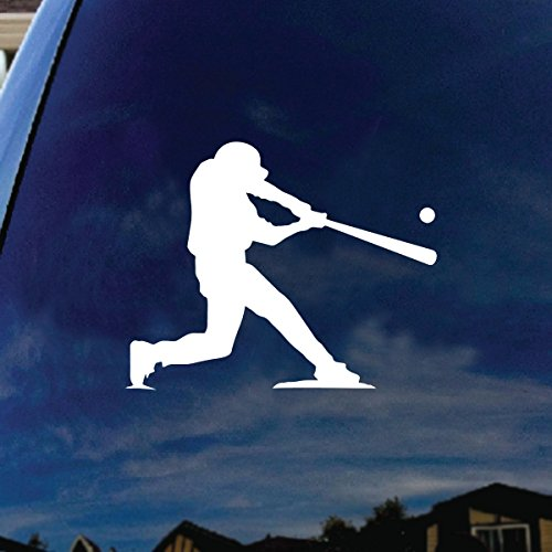 "SoCoolDesign Baseball Player at Bat Car Window Vinyl Decal Sticker 5"" Wide (White)"