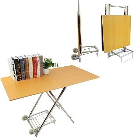 Mesa Plegable multifunción con Ruedas, Juego de Mesa con Bandeja para decoración del hogar, Plegable en