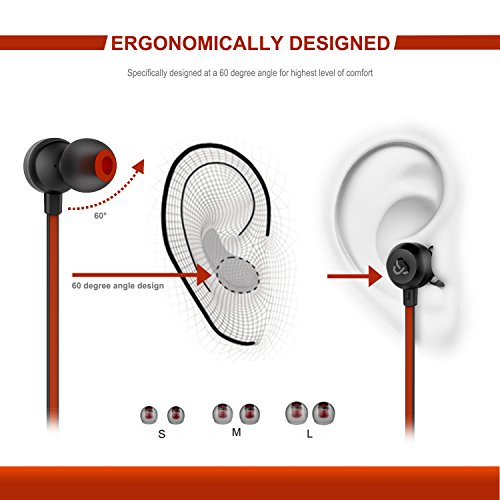 Earphones Cloudio J1 Noise Cancelling Earbuds In Ear Headphones With Microphone Noise Isolating Earbuds Sports Headphones Super Bass Earbuds For iPhone Android Phone iPad Tablet Laptop(Black) - Image 4