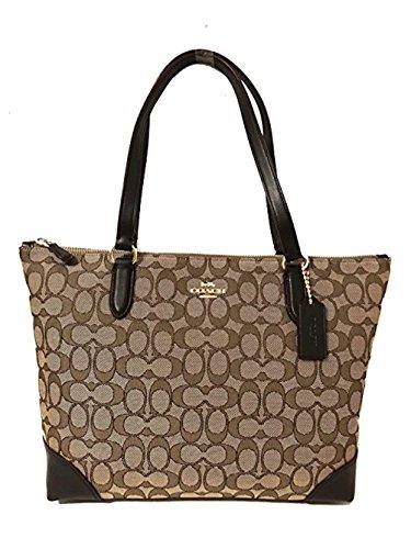 Coach Signature Zip Tote Shoulder Handbag (IM/Khaki/Brown), Medium